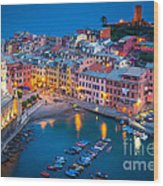 Night In Vernazza Wood Print by Inge Johnsson