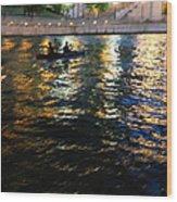 Night Kayak Ride Wood Print by Margie Hurwich