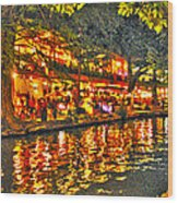 Night Life By The River Walk Wood Print