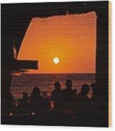 Night Life In Kona Wood Print