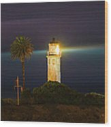 Night Lighthouse On The Bluff Wood Print