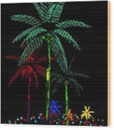 Night Lights Electric Palm Trees Wood Print