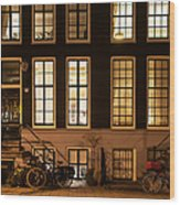 Night Lights In Amsterdam. Holland Wood Print
