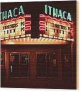 Night Lights Ithaca Theater Wood Print