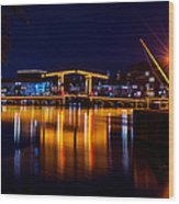 Night Lights On The Amsterdam Canals 1. Holland Wood Print