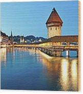 Night Lucerne, Switzerland Wood Print