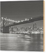 Night - New York City - Brooklyn Bridge Wood Print