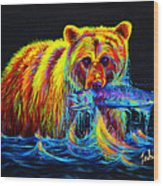 Night Of The Grizzly Wood Print by Teshia Art