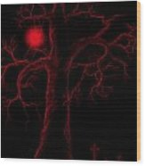 Night Of The Red Moon Wood Print