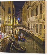 Night On The Canal - Venice - Italy Wood Print