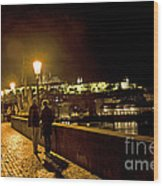 Night On The Charles Bridge Wood Print