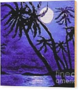 Night On The Islands Painterly Brushstrokes Wood Print