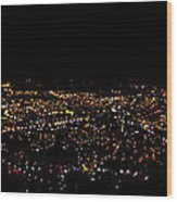 Night Panorama Of Cuenca Ecuador Wood Print