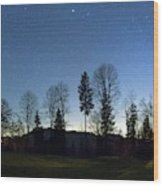 Night Panorama With Stars Wood Print