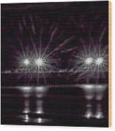 Night Pier Purple Wood Print