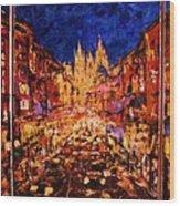 Night Prague Wood Print