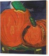 Night Pumpkins Wood Print