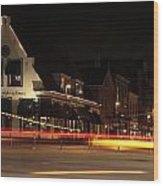 Night Scene At The Intersection Of Main Street And Schutstraat In Hoogeveen Wood Print