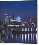 Night Scene In Blue Of Minatomirai In Yokohama Wood Print