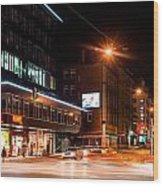 Night Scenery At The Crossroads - Cars Wood Print