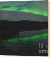 Night Sky Stars Clouds Northern Lights Mirrored Wood Print