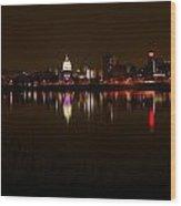 Night Skyline Harrisburg Pa Pink Lights Wood Print
