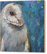 Night Snow Owl Wood Print
