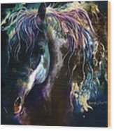 Night Stallion Wood Print
