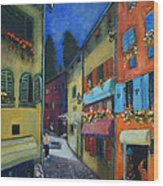 Night Street In Pula Wood Print