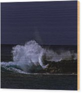 Night Surf Wood Print