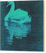 Night Swan L Wood Print
