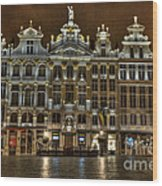 Night Time In Grand Place Wood Print