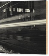 Night Train Black And White Wood Print