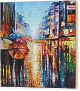 Night Umbrellas - Palette Knife Oil Painting On Canvas By Leonid Afremov Wood Print