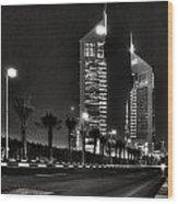 Night View Of Emirates Towers In Dubai Wood Print