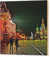 Night View Of Gum And Saint Basil Cathedral In Red Square In Moscow-russia Wood Print