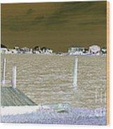 Night View Of Lafitte Bay Dauphin Island Alabama Wood Print