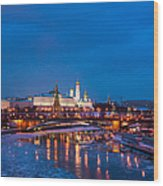 Night View Of Moscow Kremlin In Wintertime - Featured 3 Wood Print