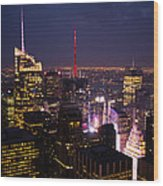 Night View Of New York Wood Print