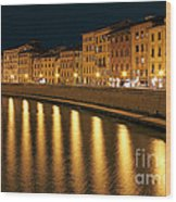 Night View Of River Arno Bank In Pisa Wood Print