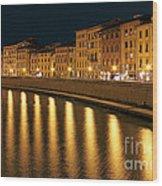 Night View Of River Arno Bank In Pisa Wood Print
