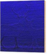 Night View With Deers Digital Painting Wood Print