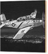 Night Vision Beechcraft T-34 Mentor Military Training Airplane Wood Print