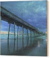 Nightfall At The Pier Wood Print