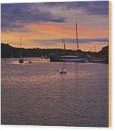 Nightfall On Mystic River 1 Wood Print