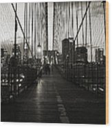 Nightfall On The Brooklyn Bridge Wood Print