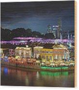Nightlife At Clarke Quay Singapore Aerial Wood Print