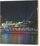 Nightlife At Clarke Quay Singapore Wood Print