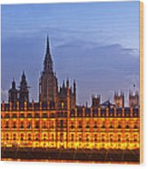 Nightly View London Houses Of Parliament Wood Print