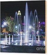 Nighttime At Chico City Plaza Wood Print